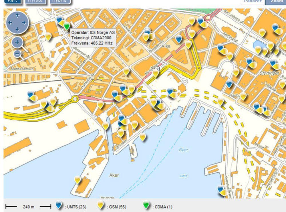 Post- og teletilsynets nye kartløsning viser mobilbasene fra alle norske mobiloperatører. Her et utsnitt over plasseringene i Oslo sentrum og Aker brygge.