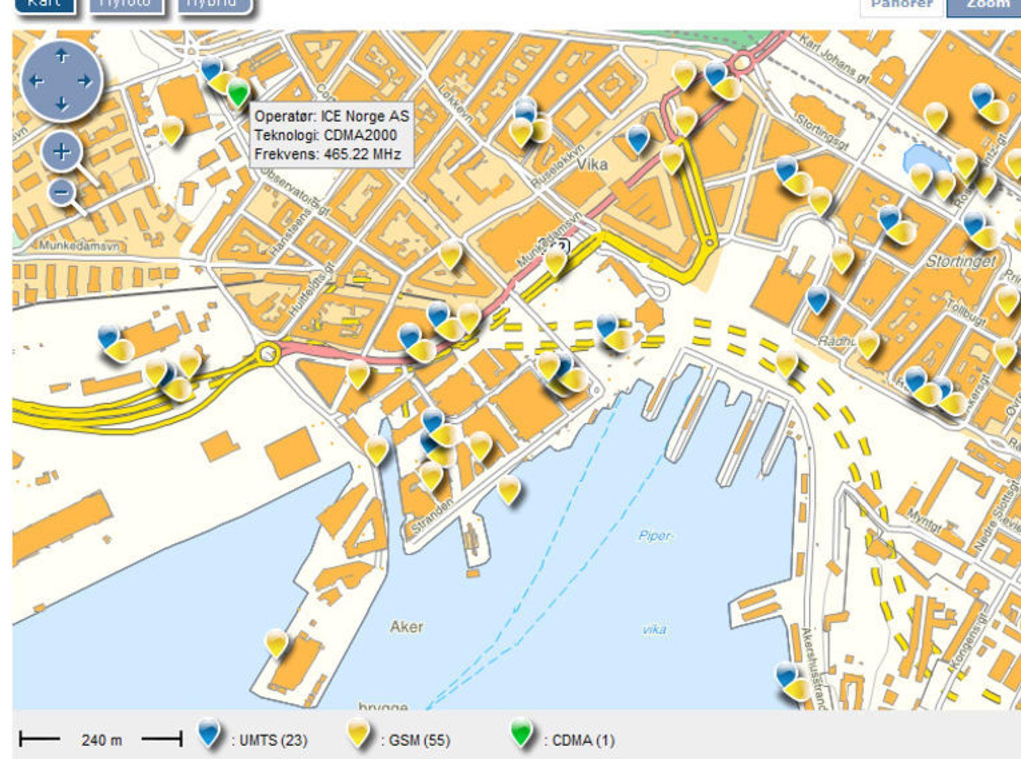 mobilmaster kart Viser alle norske GSM master   Digi.no mobilmaster kart
