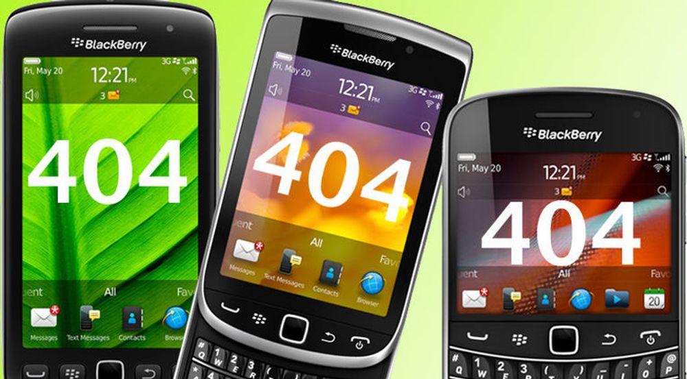 Nedetid for Blackberry i Europa