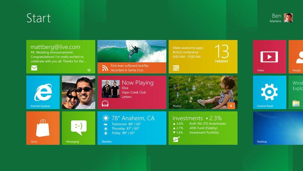 Metro-grensesnittet er blant nyhetene som bidrar til redusert bruk av minne med Windows 8.