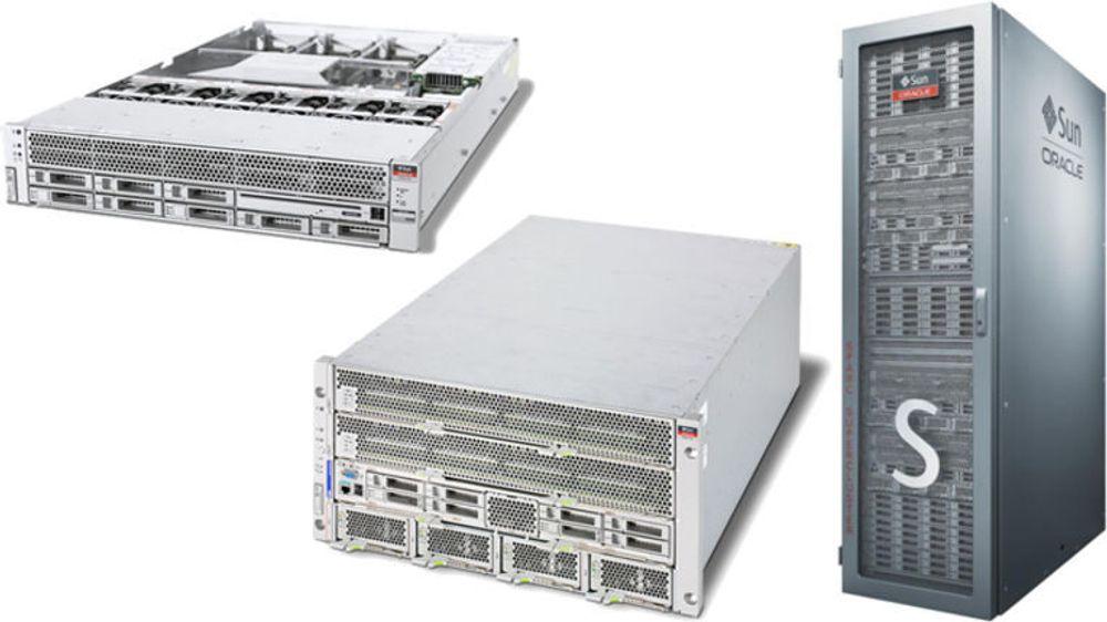 Et utvalg av Oracles nye Sparc T4-servere: (fv) T4-1, T4-4 og T4-4 Supercluster.