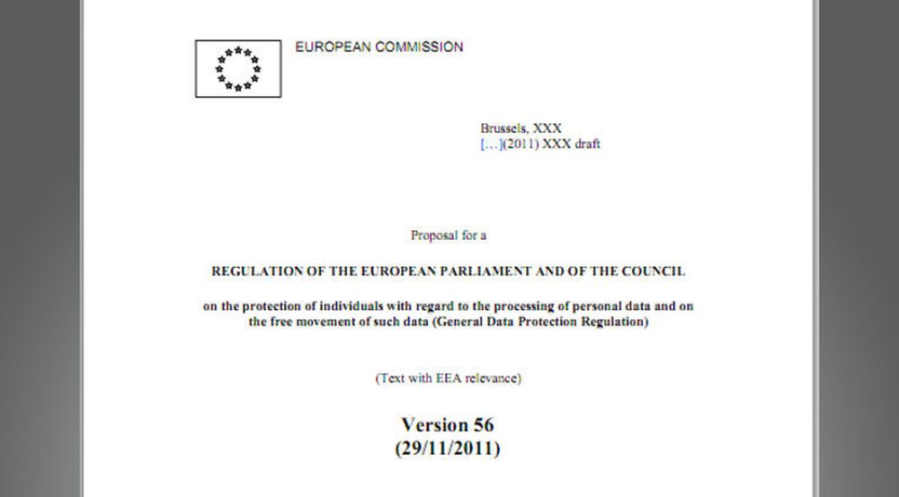 Faksimile av dokumentet som inneholder et utkast til EU-diktatet innen personvern. Se lenke i artikkelen.