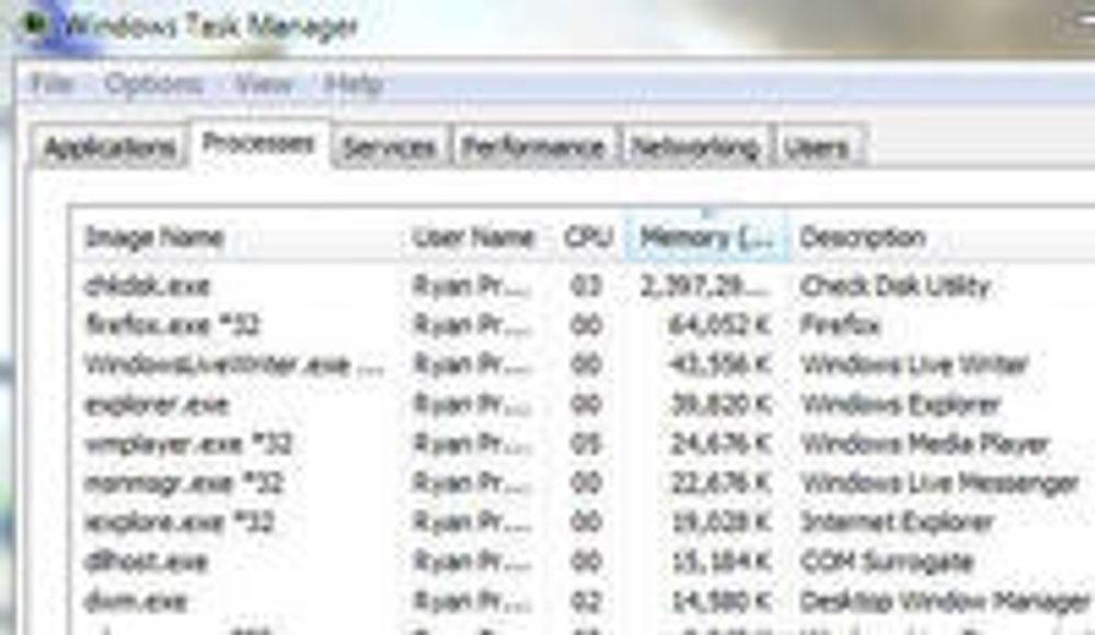 chkdsk krever mye minne i Windows 7.