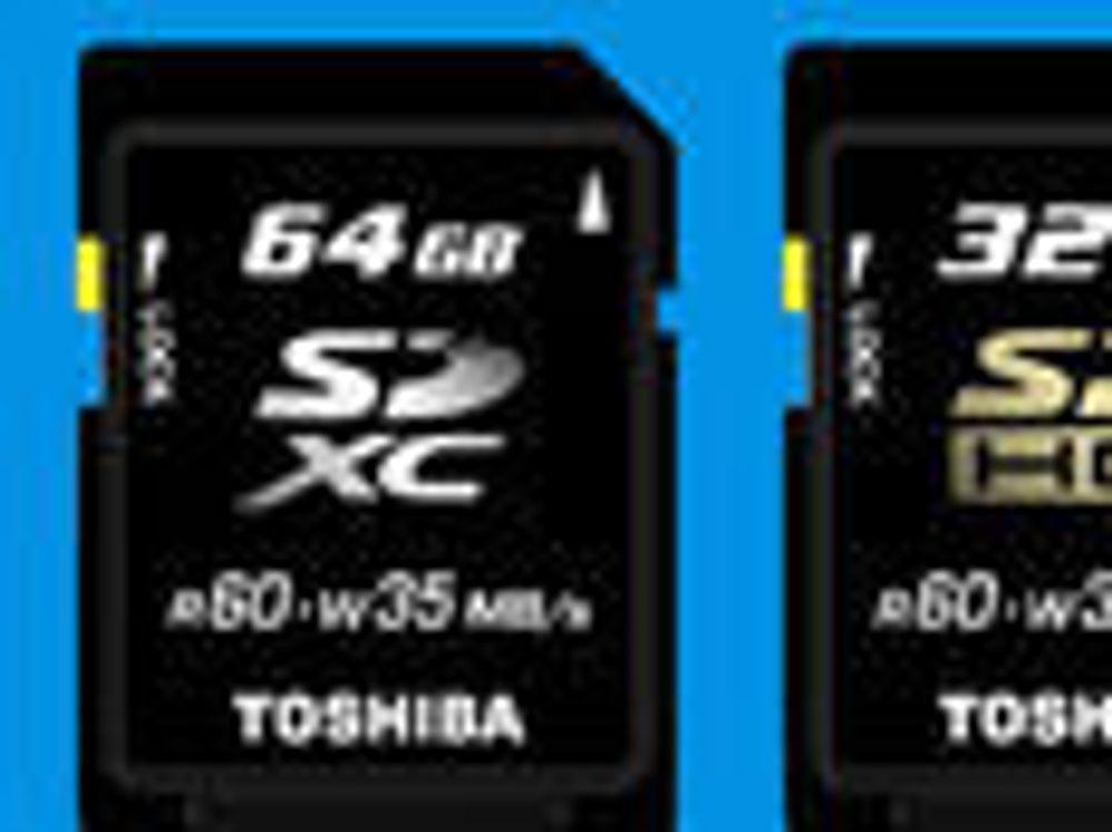 Det kommende SDXC- og SDHC-kortene fra Toshiba.