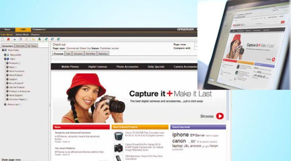 Redigering og resultat ved bruk av Episervers e-handelsløsning.