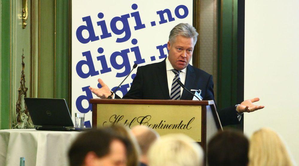 Helge Leiro Baastad, konsernsjef i Gjensidige, har valgt Evry som IT-partner de neste seks årene. Han deltok som foredragsholder på digi.nos Toppmøte Bank & Finans onsdag forrige uke.