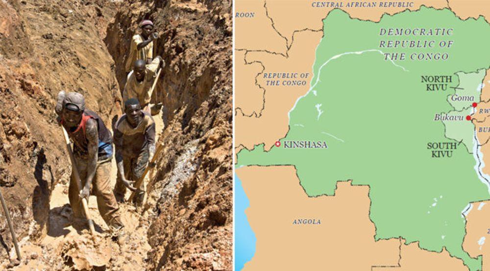 Illustrasjoner fra rapporten: Mineralutvinning med primitive metoder; kartet viser Kivu i det østlige Congo, der nabolandene Rwanda og Ugand, samt Congos uregjerlige hær, støtter ulike krigsherrer og militser, og tjener penger på utvinning av naturressurser i militsstyrte områder.