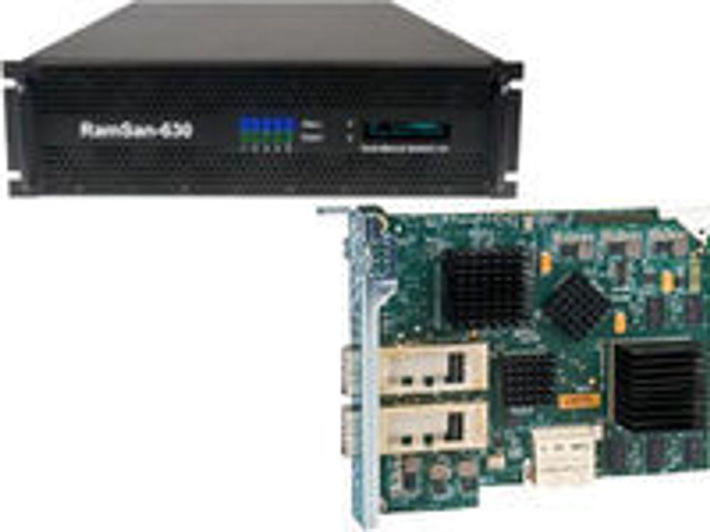 RamSan-630 mer nærbilde av det nye Infiniband-kortet som det er plass til fem av i SSD-enheten.