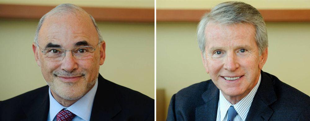 Leo Apotheker (til venstre) er HPs nye toppsjef. Han ble presset ut fra lederjobben i SAP i februar, etter misnøye i styret med dårlige resultater. Ray Lane er utnevnt til ny styreleder. Han var nestkommanderendei Oracle, men trakk seg i juli 2000 etter uoverensstemmelser med Larry Ellison.