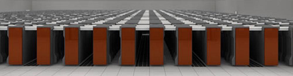 Slik ser Fujitsu for seg maskinhallen til K når den ferdigstilles i 2012, med 800 rack. K står for det japanske ordet kei for 10^16, og henviser til ytelsesmålet på 10 petaflops.