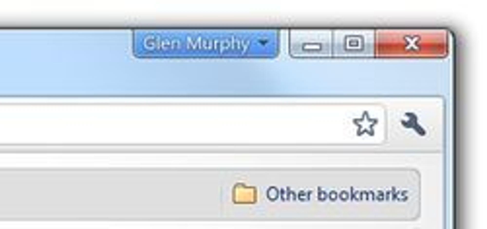 Slik vil profilvalget vises i de enkelte vinduene i Windows- og Linux-versjonen av Chrome. I Mac-versjonen vil profilvalget vises sammen med resten av menyen.