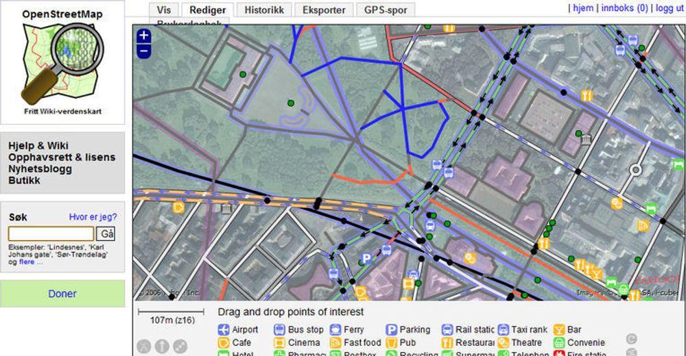 OpenStreetMap-redigering med verktøyet Potlatch - øvre del av Karl Johans gata i Oslo.