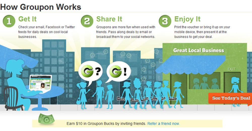 Groupon tilbyr rabattkuponger tilpasset registrerte brukeres lokalmiljøer. Distribusjonen skjer gjennom nettstedet, eller via e-post, Facebook eller Twitter. Distribusjonen via de sosiale mediene gjør det enkelt å formidle interessante rabatter til vennekretsen. Groupon startet i november 2008 og har vokst til 20 millioner brukere. Virksomheten er foreløpig begrenset til USA.