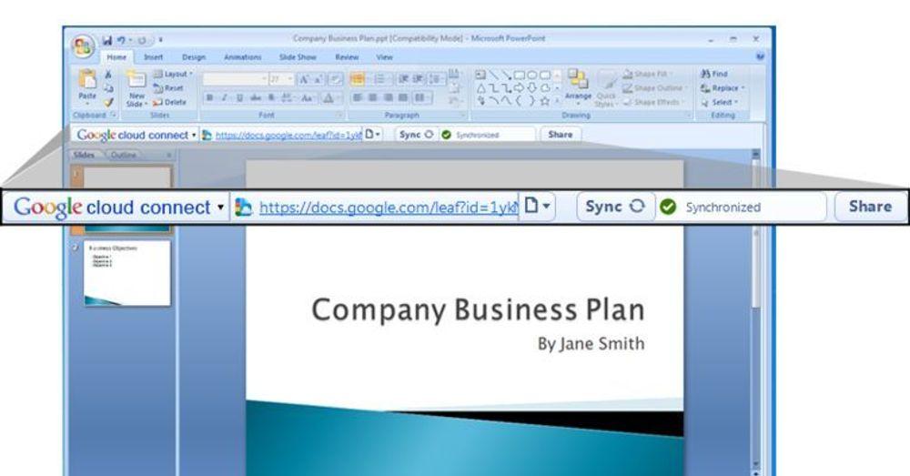 Google Cloud Connect framstår som en ny verktøylinje i Microsoft Office.