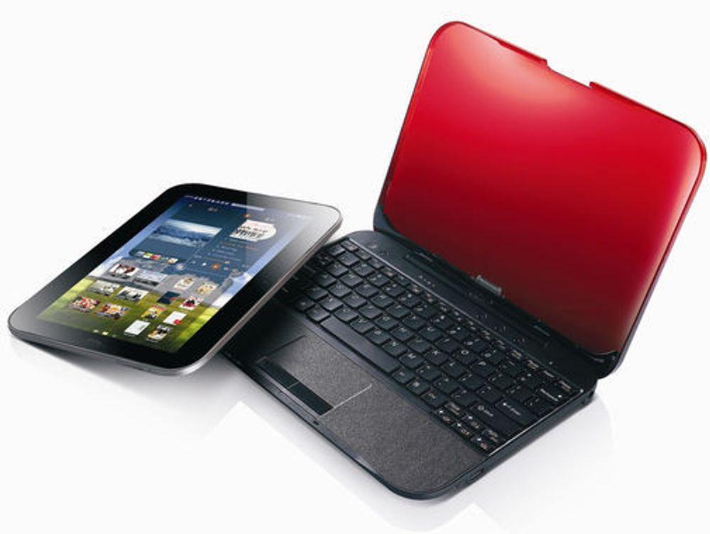 Skjerment til den bærbare pc-en Lenovo IdeaPad U1 Hybrid kalles for LePad Slate og kan brukes separat som et Android-basert nettbrett.
