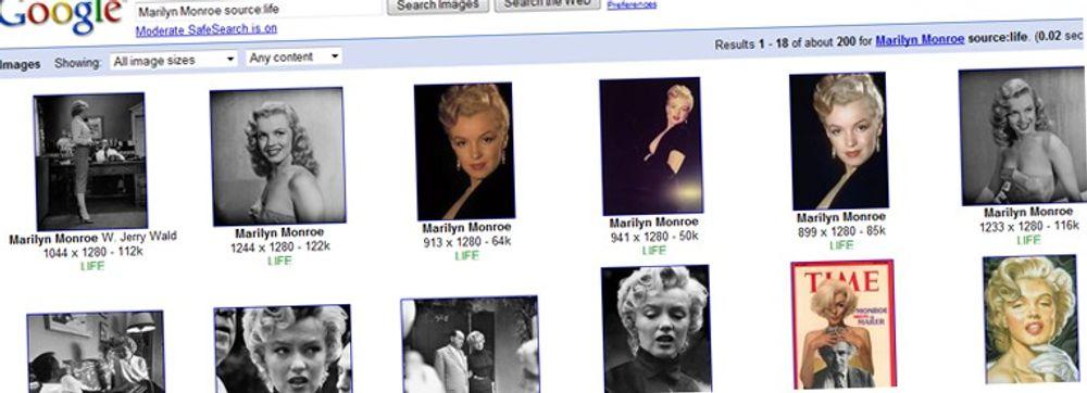 Google og Life byr på millioner av bilder. Her finnes bilder av alt mulig, også historiske personer som Marilyn Monroe. (Foto: faksimile)