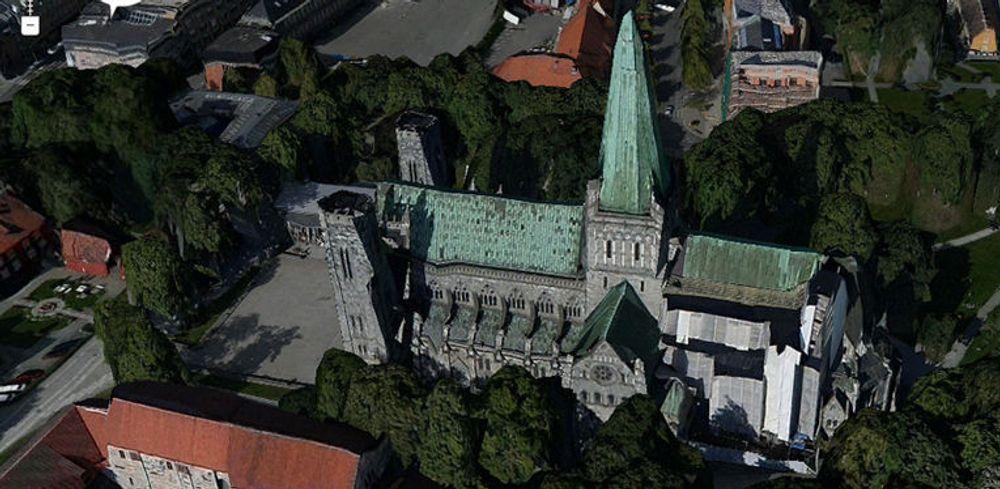 Trondheim er nå modellert i full 3D tilgjengelig i Sesams søk. Slik ser den kjente katedralen ut i fugleperspektiv.
