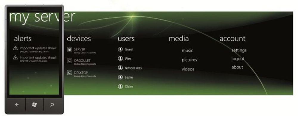 Microsoft med nytt verktøy for fjernadministrasjon av hjemmeserveren fra Windows Phone-mobiltelefoner.