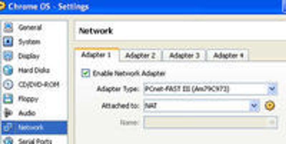 Nettverks-innstillingene vi brukte i VirtualBox ved kjøring av Chrome OS.