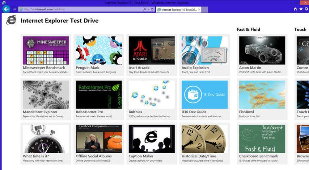 Internet Explorer Test Drive er Microsofts samling av webapplikasjoner som skal demonstrere de nye mulighetene og ytelsen til Internet Explorer 10.