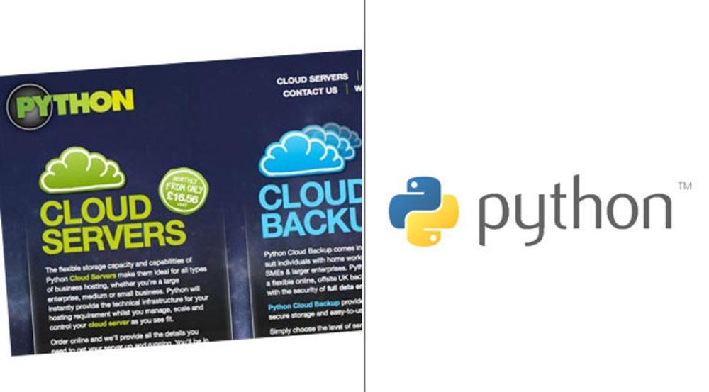 Krangel om varemerke: Fra v. Python solgt inn som produktnavn for skytjenester. Til høyre den langt mer kjente logoen til programmeringsspråket.