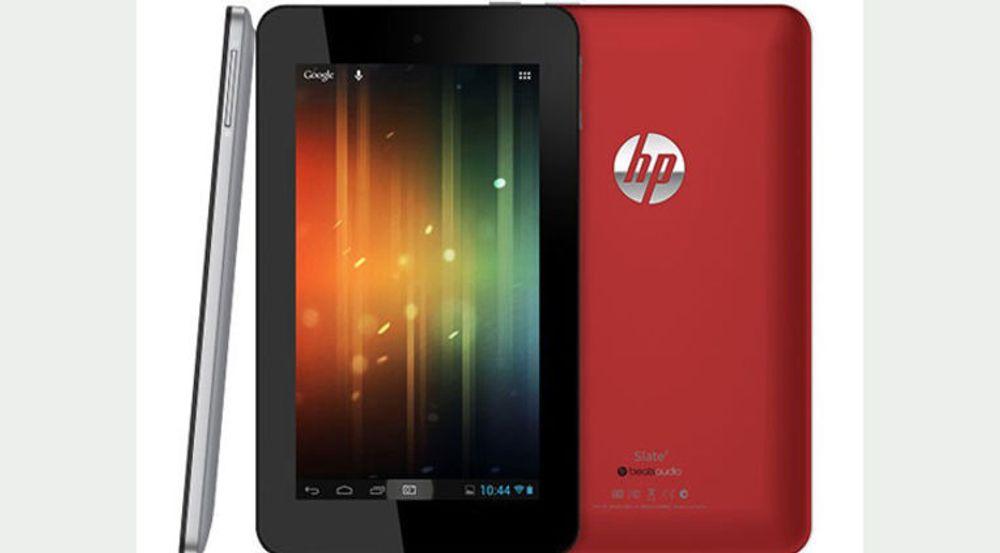 HPs nye billig-brett Slate 7 har en gummiert bakside, slik også Googles Nexus 7 har. Ellers er det lavere pris som fremstår som HPs kanskje eneste fortrinn her.