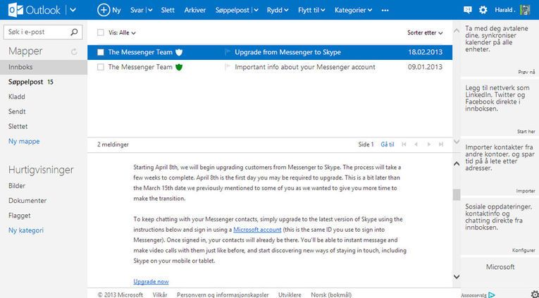 Outlook.com er ute av beta