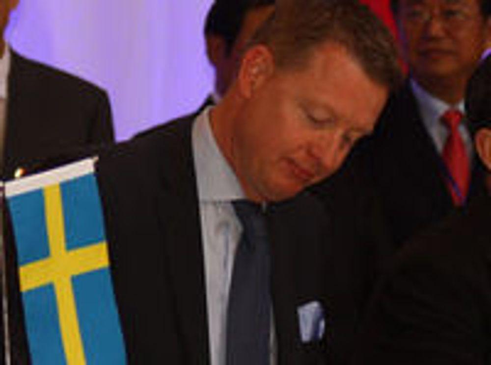 Ericsson-sjef Hans Vestberg under signering av avtaler i Kina i mars 2010.