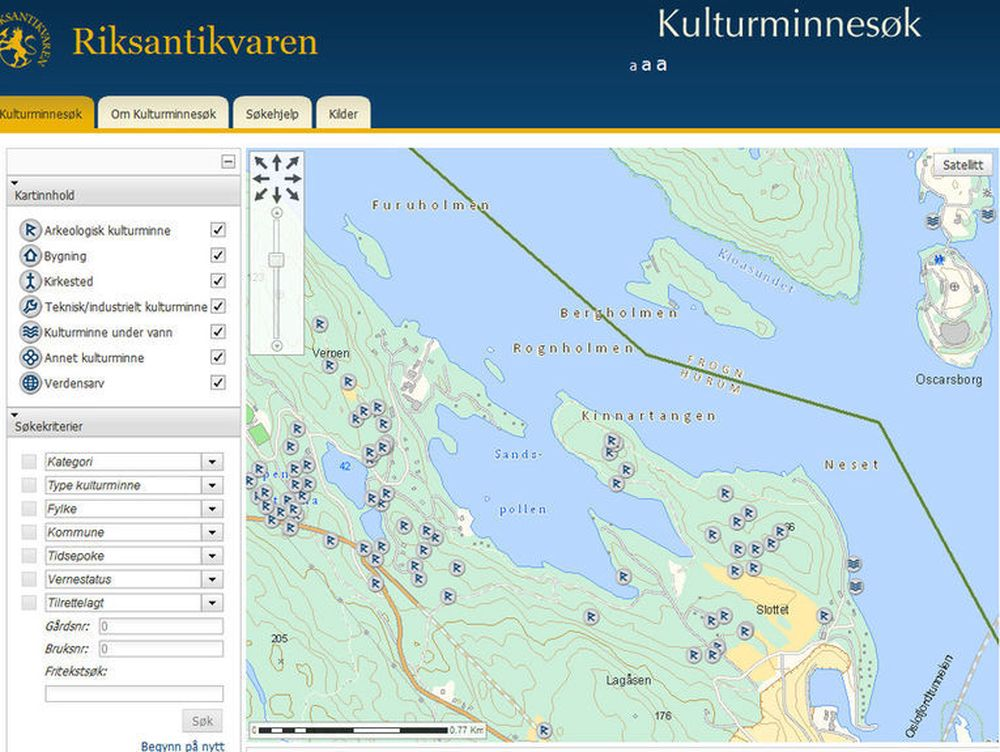 Eksempel på kartinformasjon i Kulturminnesok.no. Her vises funnsteder omkring Sandspollen i Hurum.