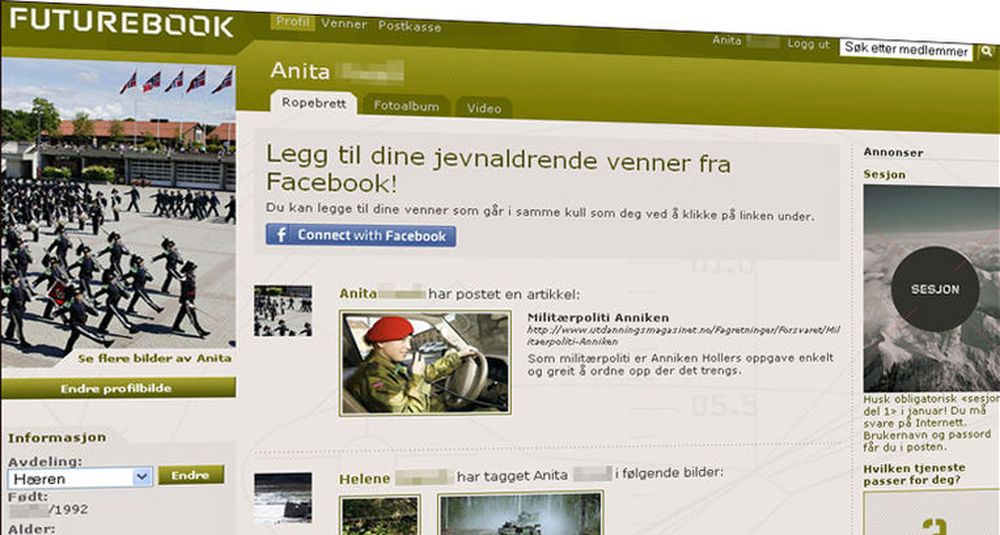 Profilsidene på Futurebook fremstår som rene kopier av mer kjente Facebook. Etternavn og fødselsdato er sladdet.