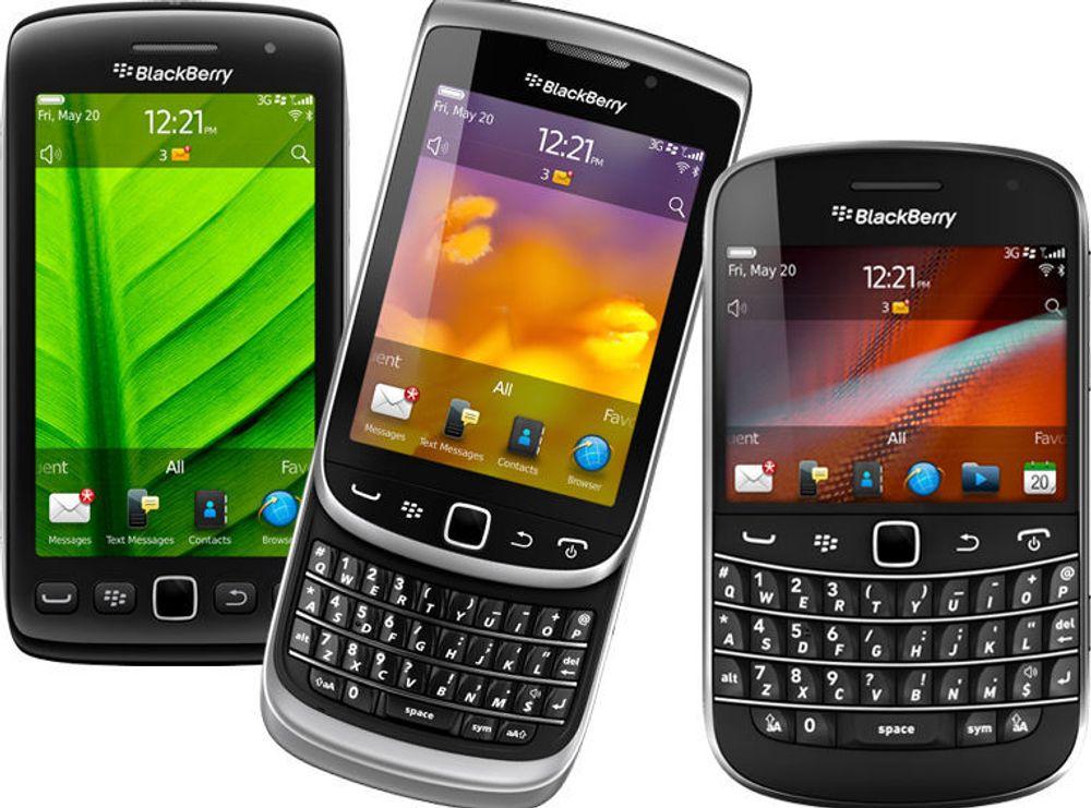 De nye Blackberry-mobilene har alle berøringsskjerm og det nye Blackberry OS 7. Fra venstre: Torch 9850/9860, Torch 9810 og Bold 9900/9930.