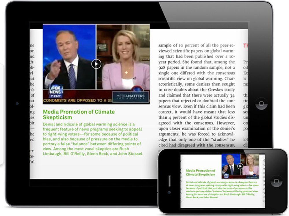 E-boka Our Choice inneholder videosnutter, interaktiv og animert grafikk, bilder som kan forstørres og kart som kan zoomes. Layout-en tilpasser seg dynamisk til formatet leseren velger, her hhv iPad og iPhone.