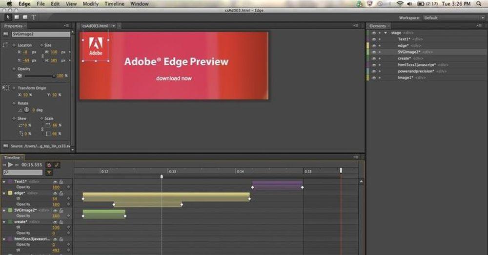Adobe Edge brukes til å lage animasjon i SVG-basert vektorgrafikk.