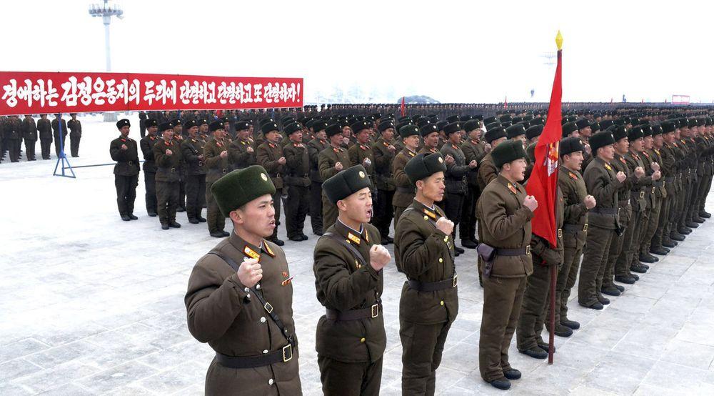 En sørkoreaner står nå tiltalt for å ha spredd en Twitter-melding fra Nord-Korea. Bildet viser en oppstilling av soldater fra den nordkoreanske folkehæren i Pyongyang i forrige måned, da de fornyet sine troskapsløfter til den avdøde lederen Kim Jong-il og hans etterfølger, sønnen Kim Jong-un.