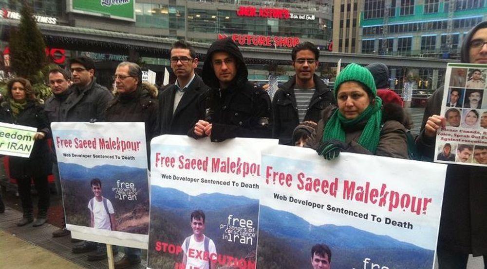Demonstrasjon i Toronto, Canada, mot dødsdommen mot den iranske webdesigneren Saeed Malakpour.