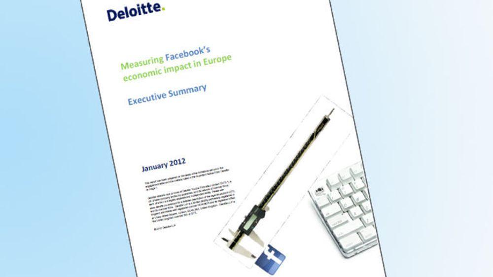 På oppdrag fra Facebook har Deloitte utarbeidet en rapport som tallfester Facebooks bidrag til verdiskapning og arbeidsplasser i EU, EØS og Sveits.