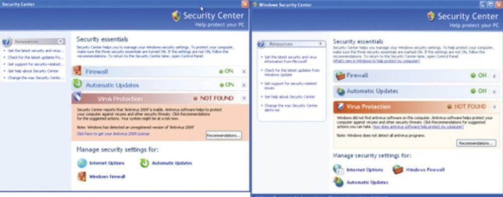 Lureprogrammet «Antivirus 2009» (til venstre) har et «Security Center» som minner til forveksling om det til Microsoft. Forskjellen er at «Antivirus 2009» ikke gir noe effektivt vern overhode.