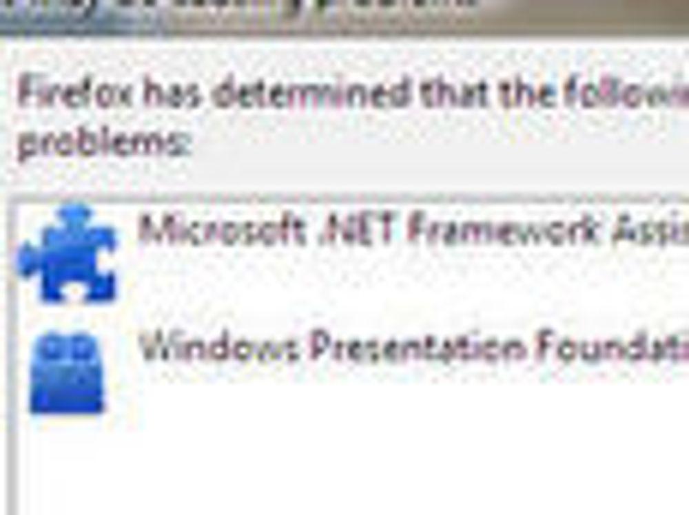Firefox blokkerte to tillegg fra Microsoft. I skrivende stund har i alle fall den øverste blitt fjernet fra listen.