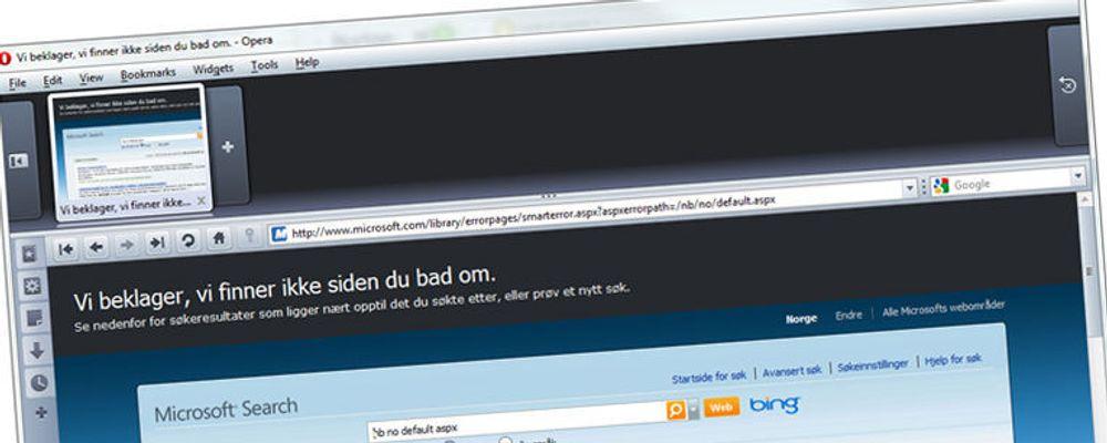 Microsoft.no: «Vi beklager, vi finner ikke siden du bad om». (Skrivefeilen er ikke vår...)