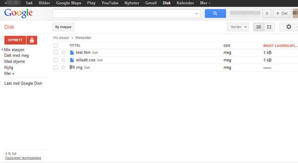 Mappestrukturen i Google Disk for eksempelsiden som nevnes i artikkelen.