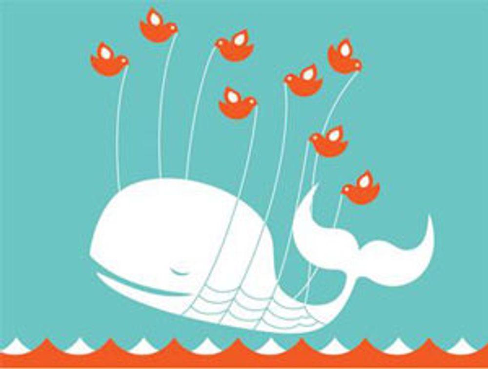 Denne illustrasjonen har lenge vært et kjent skue for brukere av Twitter-tjenesten. Nå flyr hvalen stadig sjeldnere.