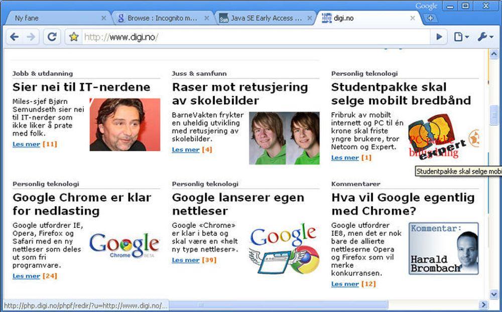 Google Chrome har kommet i en første betaversjon.