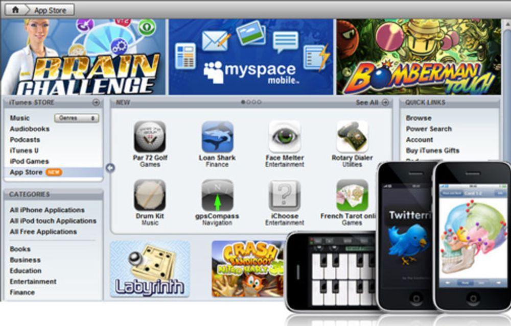 App Store frister med over 2000 nedlastbare programmer til iPhone, og tallet øker stadig.