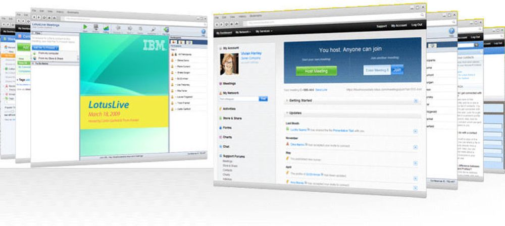 Skjermbilder fra LotusLive, der IBM akter å tilby bedrifter alle slags tjenester rundt meldinger, samarbeid og sosialenettverk, gjennom nettskyen.