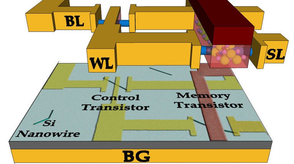 Illustrasjonen viser layouten til den nye, ikke -flyktige minneteknologien FeTRAM. (Illustrasjon: Birck Nanotechnology Center, Purdue University).