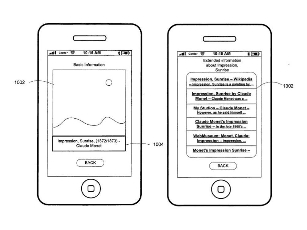 Tegninger fra patentsøknaden viser en måte å bruke ID App på. Du står foran en reproduksjon av et maleri, men vet verken tittel eller maler. Du tar et bilde av maleriet, og laster det i ID App som bruker forskjellige teknologier for å prøve å kjenne igjen motivet. Tegningen til venstre viser den grunnleggende informasjonen som er funnet, at det dreier seg om Soloppgang av Monet. Til høyre er en liste over kilder til mer informasjon om bildet og maleren.