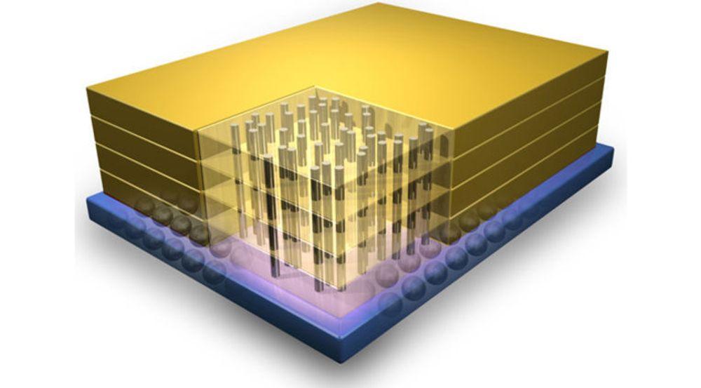HMC består av flere lag med DRAM-kretser og et underliggende logikklag. De loddrette elementene er TSV-er – «through silicon vias» – som formidler signaler til DRAM-kretsene fra det underliggende logikklaget.