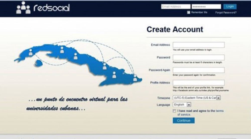 Det nye sosiale nettverket i form av den kubanske klonen Red Social, med originalen under.