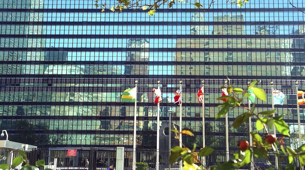 """Rundt tusen brukerkontoer til FN-ansatte ble tirsdag lagt ut av hackergruppen """"Team Poison"""". Bildet er fra FNs hovedkvarter i New York."""