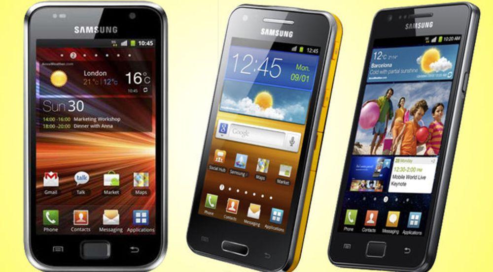 Galaxy S2, Galaxy Beam (en nyhet i Barcelona) og S: Samsung satser svært sterkt på smartmobiler, som er selskapets mest lønnsomme produkter.